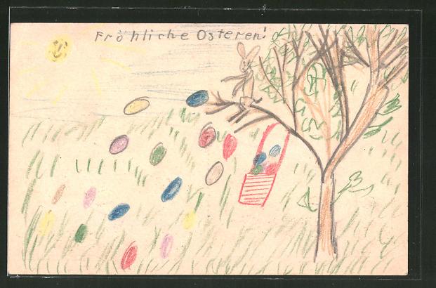 Künstler-AK Handgemalt: Fröhliche Ostern!, Osterhase und Wiese mit bunten Eiern