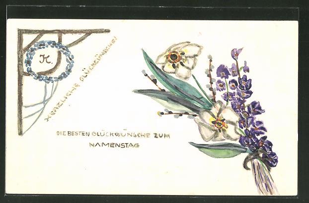 Künstler-AK Handgemalt: Glückwünsche zum Namenstag, Blumen