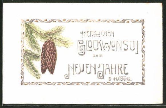 Künstler-AK Handgemalt: Glückwunsch zum Neuen Jahre