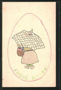 Künstler-AK Handgemalt: Frohe Ostern!, Frau mit Korb voller Eier und Schirm