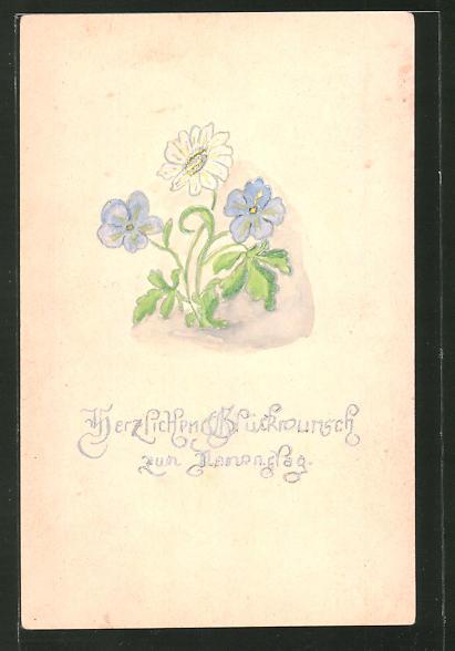 Künstler-AK Handgemalt: Glückwunsch zum Namenstag mit Blumen