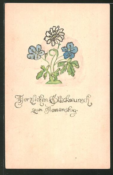 Künstler-AK Handgemalt: Herzlichen Glückwunsch zum Namenstag mit Blumen