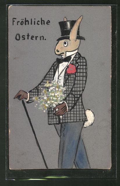 Künstler-AK Handgemalt: Elegant gekleideter Osterhase mit Zylinder wünscht