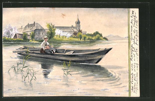 Künstler-AK Handgemalt: Bootspartie vor Ortschaft