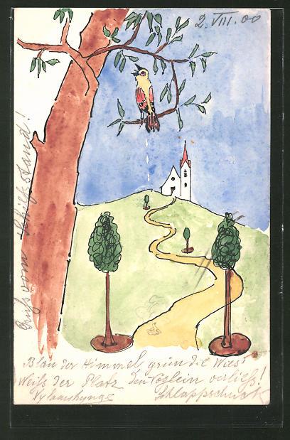 Künstler-AK Handgemalt: Singender Vogel auf einem Baum, Fernblick auf eine Kirche