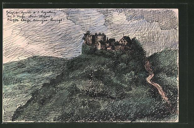 Künstler-AK Handgemalt: Blick auf eine Burg im Regen