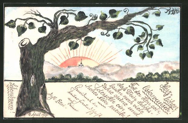 Künstler-AK Handgemalt: Sonnenaufgang hinter einem Baum