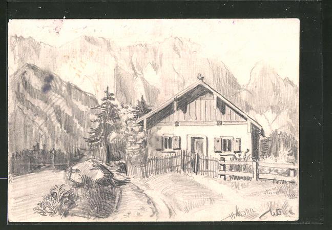 Künstler-AK Handgemalt: Haus in den Bergen