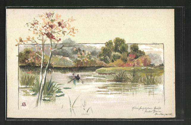 Künstler-AK Handgemalt: Landschaftsmotiv mit Ruderboot auf einem See