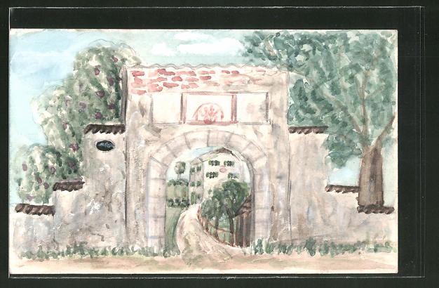 Künstler-AK Handgemalt: Blick durch ein Tor auf ein Haus