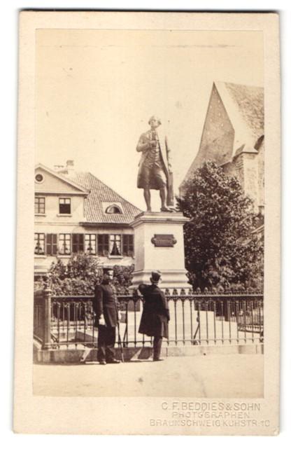 Fotografie C. F. Beddies & Sohn, Braunschweig, Ansicht Braunschweig, Lessing-Denkmal