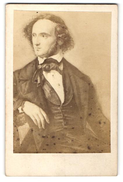 Fotografie unbekannter Fotograf, Portrait Felix Mendelssohn Bartholdy