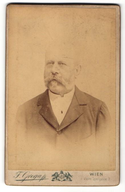 Fotografie F. Grega, Wien, Portrait bürgerlicher Herr mit Bart
