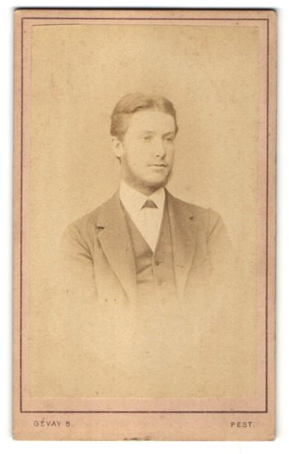 Fotografie Gévay Béla, Pesten, Portrait junger Herr in elegantem Anzug