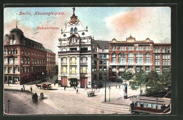 AK Berlin, Hausvogteiplatz mit Blick in die Mohrenstrasse, Strassenbahn