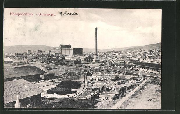 AK Noworossijsk, Elevator, Teilansicht mit Fabriken und Sägewerk