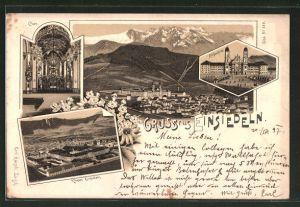 Lithographie Einsiedeln, Ortsansicht, Kloster Einsiedeln, Klosterkirche und Chor
