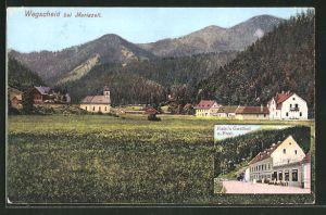 AK Wegscheid / Mariazell, Ortsansicht mit Kirche, Kain's Gasthof z. Post