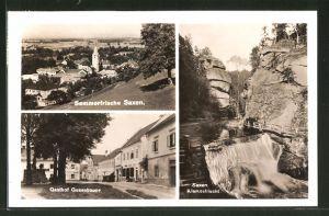AK Saxen, Gasthof Gusenbauer, Klamschlucht, Panorama mit Kirche