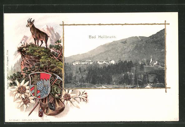Passepartout-Lithographie Bad Heilbrunn, Wappen, Totalansicht mit Bergen