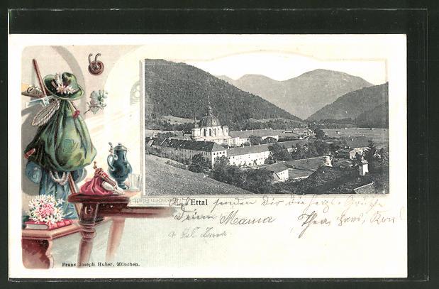 Passepartout-Lithographie Ettal, Ortsansicht aus der Vogelschau