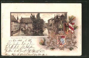 Passepartout-Lithographie Nürnberg, Wappen und Partie a. d. Museumsbrücke