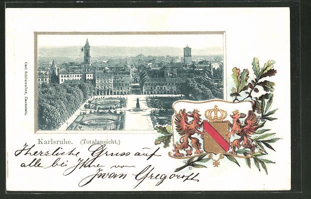 Passepartout-Lithographie Karlsruhe, Teilansicht der Stadt, Wappen