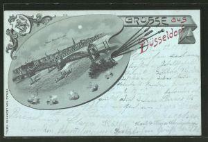 Mondschein-Passepartout-Lithographie Düsseldorf, Neue Rheinbrücke, Ansicht auf Malerpalette