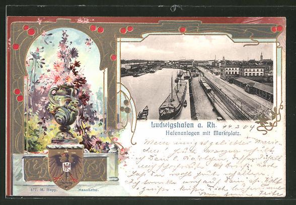 Passepartout-Lithographie Ludwigshafen a. Rh., Hafenanlagen mit Marktplatz, Wappen