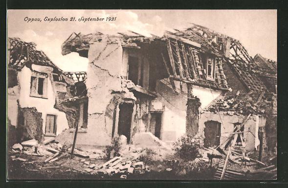 AK Oppau, Explosion vom 21.9.1921, Ansicht eines völlig zerstörten Hauses