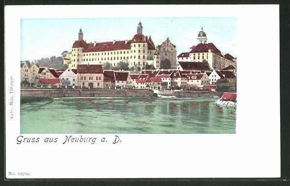 Goldfenster-AK Neuburg a. D., Schloss mit leuchtenden Fenstern