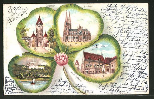 Passepartout-Lithographie Regensburg, Ansichten von Ostenthor, Dom und Walhalla auf Kleeblatt