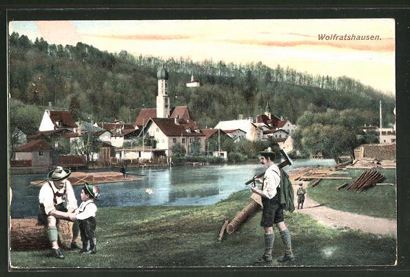 AK Wolfratshausen, Flösser bei einer Rast am Ufer