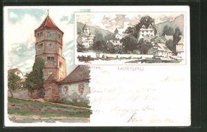 Künstler-AK Karl Mutter: Hirsau, Blick auf einen Turm, Teilansicht