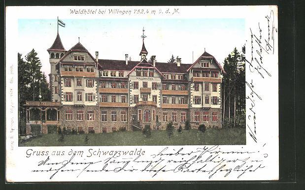 Goldfenster-AK Villingen, Waldhotel mit leuchtenden Fenstern