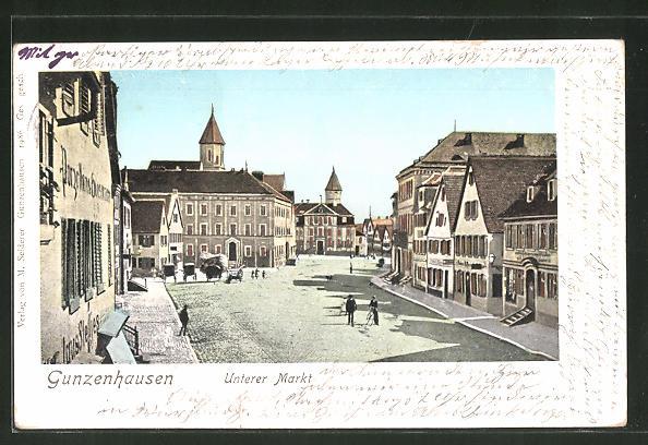Goldfenster-AK Gunzenhausen, Unterer Markt, Häuser mit leuchtenden Fenstern