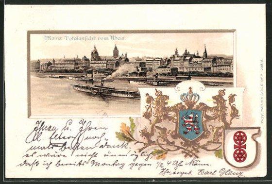 Passepartout-Lithographie Mainz, Totalansicht vom Rhein und Wappen