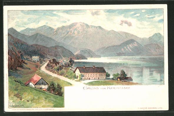 Künstler-Lithographie Heinrich Deuchert: Kochelsee, Panoramablick