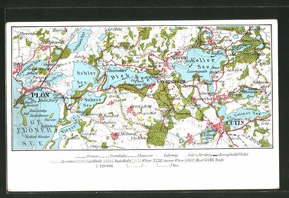 AK Malente-Gremsmühlen, Landkarte mit Plön und Eutin