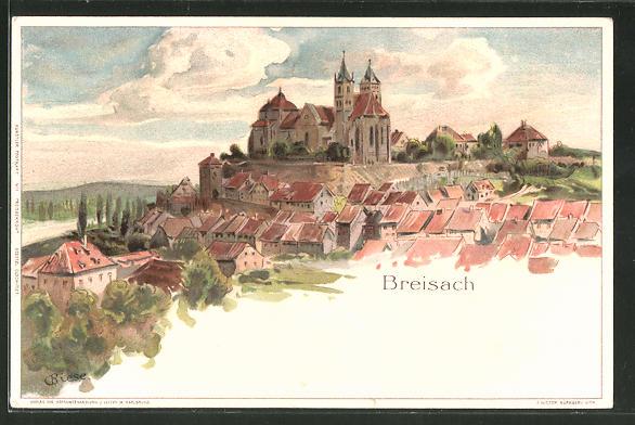 Künstler-Lithographie Carl Biese: Breisach, Panorama des Ortes