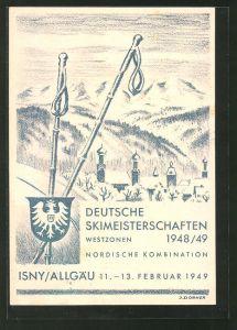 Künstler-AK Isny / Allgäu, Deutsche Skimeisterschaften 1948/49, Nordische Kombination