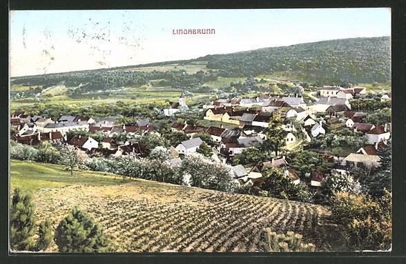 AK Lindabrunn, Ortsansicht vom Berg aus