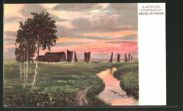 Künstler-AK Sophie Wencke: Abend im Moor