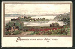Künstler-AK Karl Mutter: Insel Mainau, Panoramablick mit Bodensee
