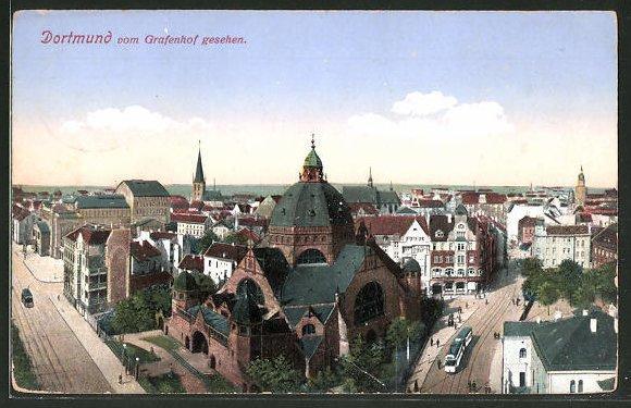 AK Dortmund, Stadtblick mit Synagoge vom Grafenhof gesehen