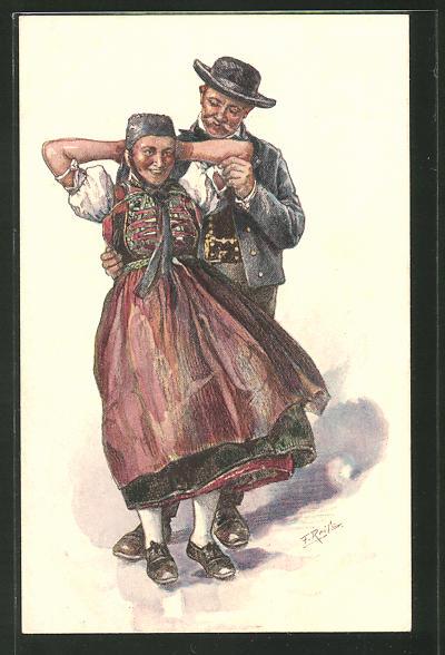 Künstler-AK Fritz Reiss: Schwarzwälder Paar vergnügt sich beim Tanz