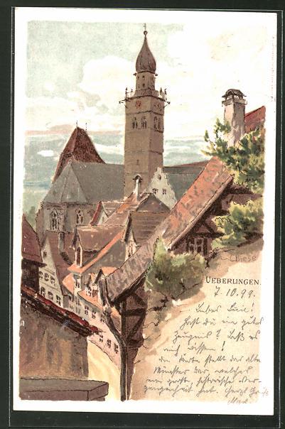 Künstler-AK Carl Biese: Ueberlingen, Blick zur Kirche