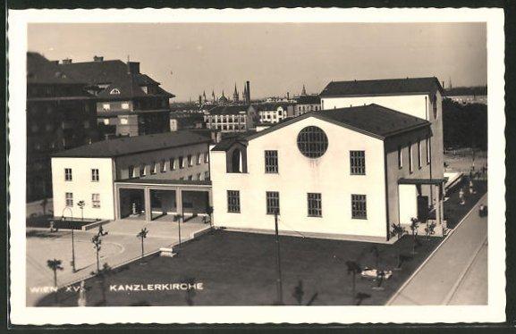 AK Wien, Blick zur Kanzlerkirche, Bundeskanzler Dollfuss