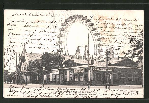 AK Wien, Wurstelprater mit Riesenrad im Wiener Prater