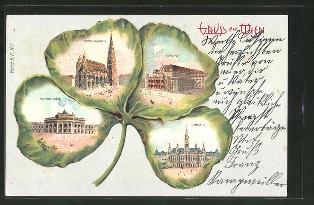 Passepartout-Lithographie Wien, Stephansdom, Burgtheater & Hofoper im Kleeblatt
